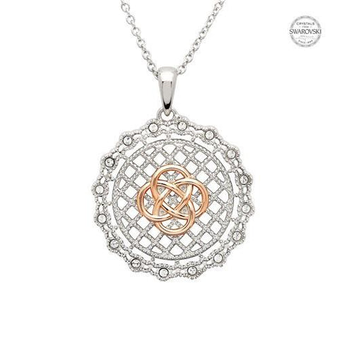 ShanOre SS Swarovski® Celtic Irish Lace Rose Gold Necklace