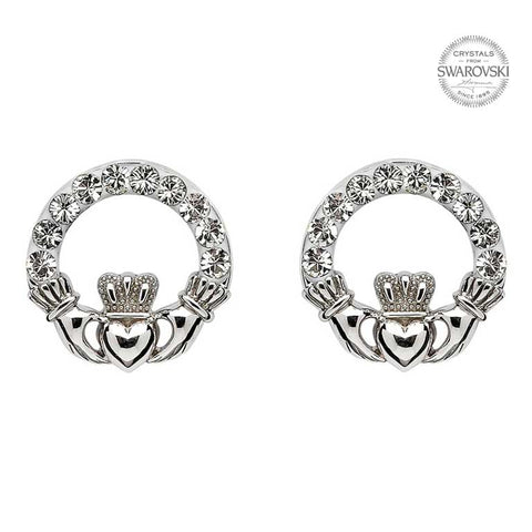 ShanOre SS Swarovski® Claddagh Stud Earrings