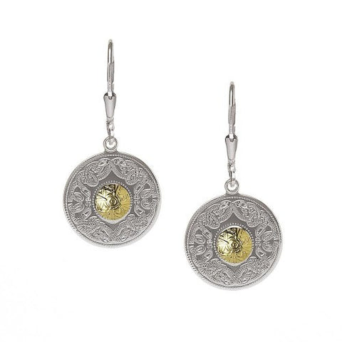 Boru Small Silver Earrings with 18K Gold Beads