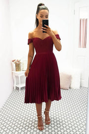 Lillie Pleated Midi Burgundy