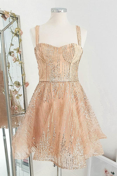 Azaria Mini Dress Rose Gold