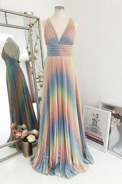 Holly Pleated Rainbow Gown