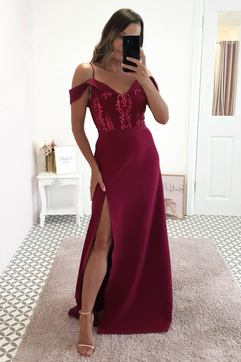 Amanda Off The Shoulder Maxi Plum