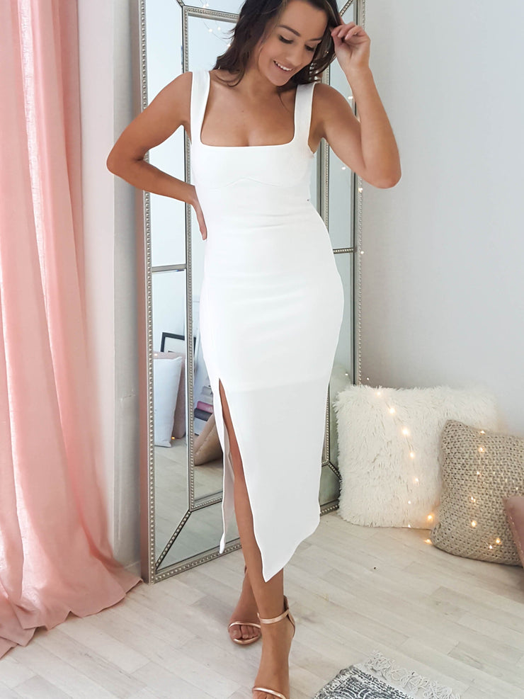 Janelle Midi Dress White