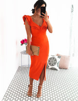 Sienna Midi Dress Blood Orange