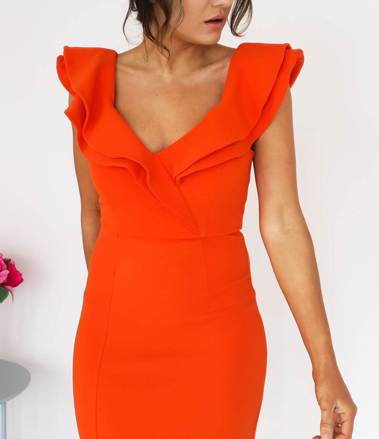 PRE-ORDER Sienna Midi Dress Blood Orange
