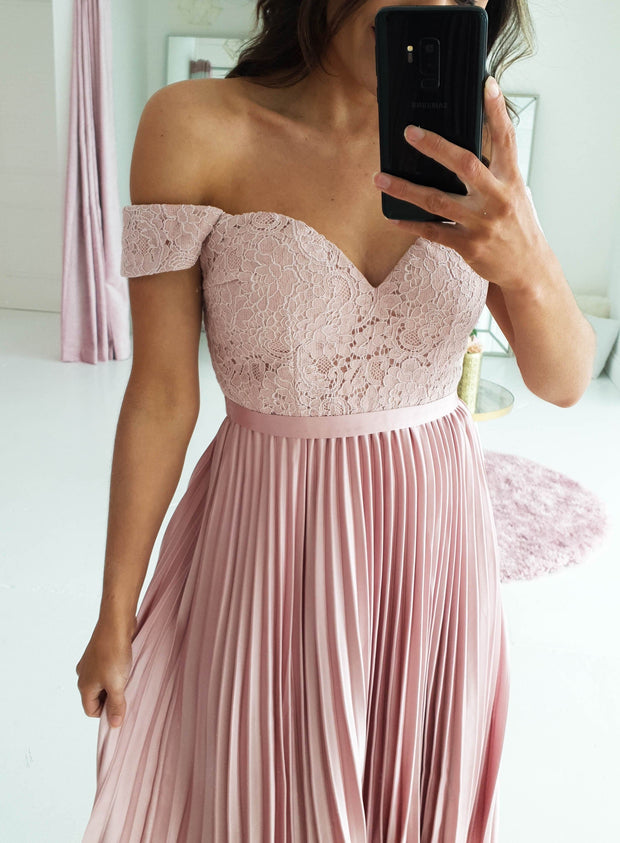 Lillie Pleated Midi Blush