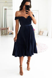 PRE-ORDER Lillie Pleated Midi Navy
