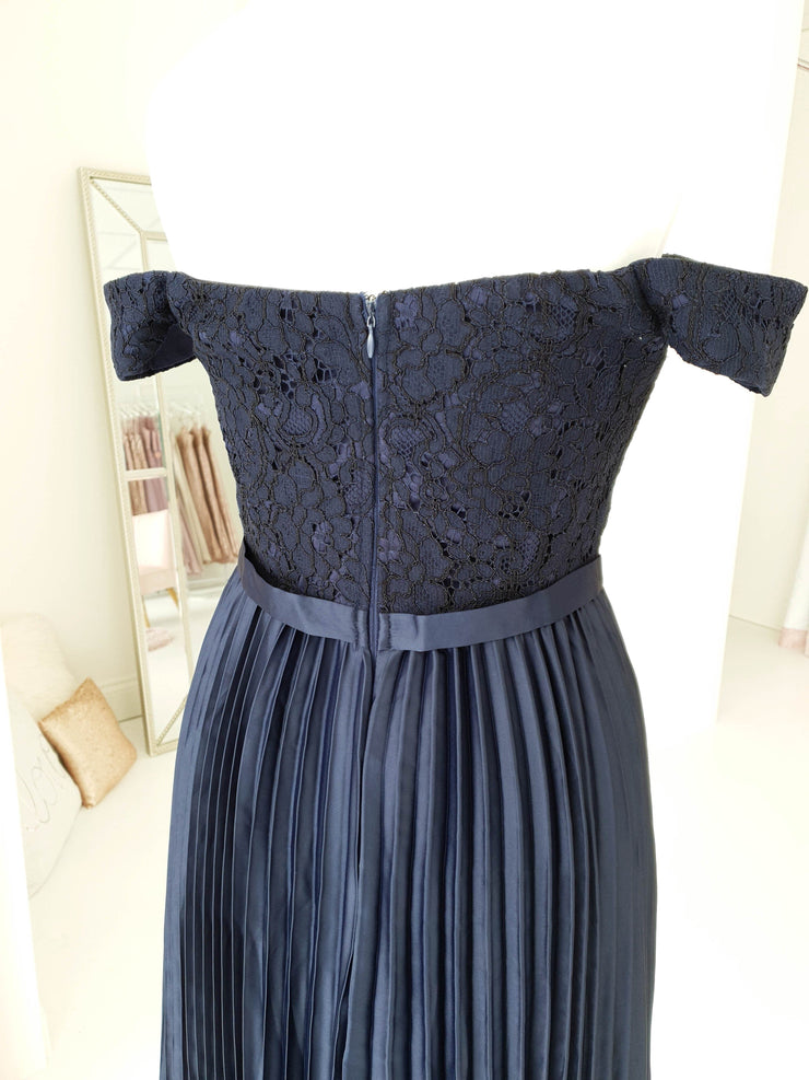 Lillie Pleated Midi Navy