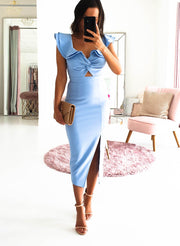Alba Midi Dress Dusty Blue