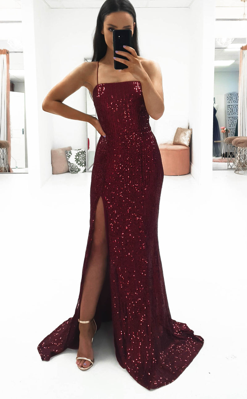 Mila Sequin Gown Dark Red