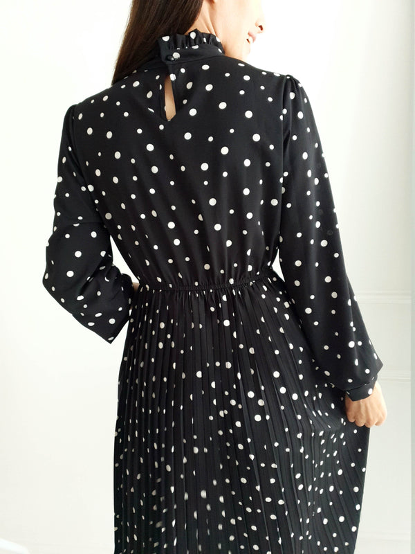 Date Night Midi Dress Black Spot