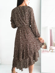 Hattie Midi Dress Brown Print