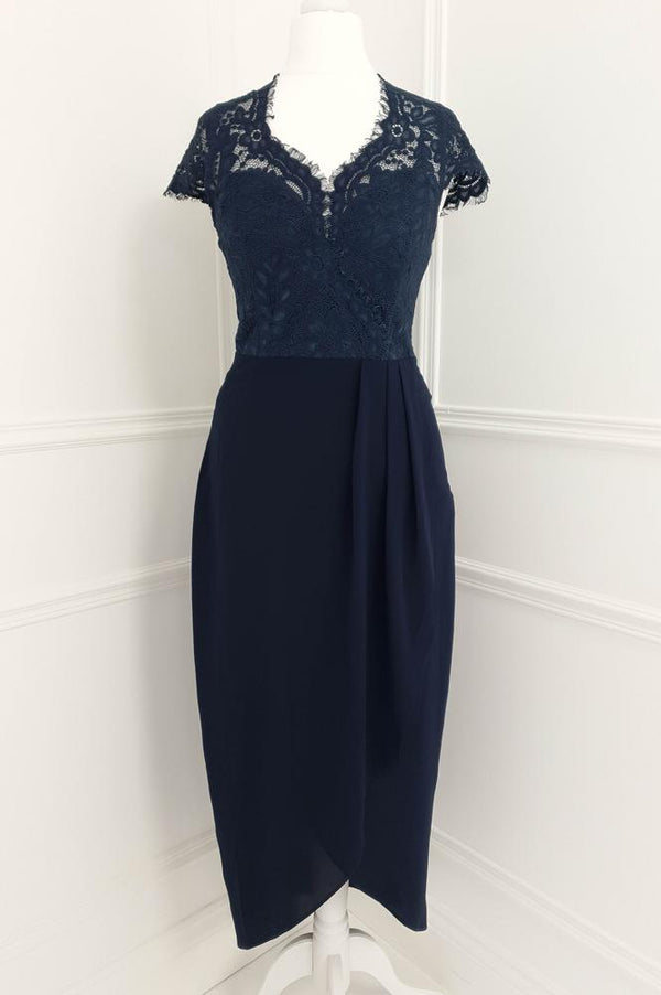 Harriet Lace Midi Dress Navy