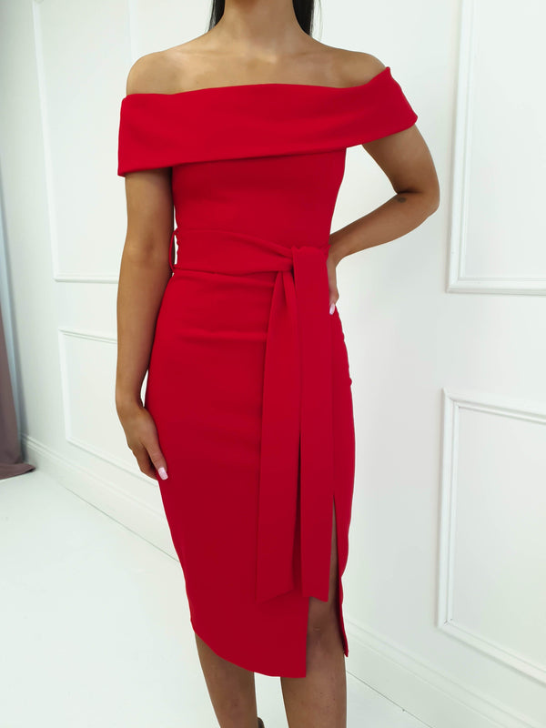 Avril Midi Dress Red