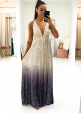 Silvia Sequin Ombre Gown
