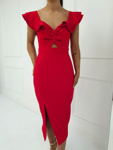 Alba Midi Dress Red