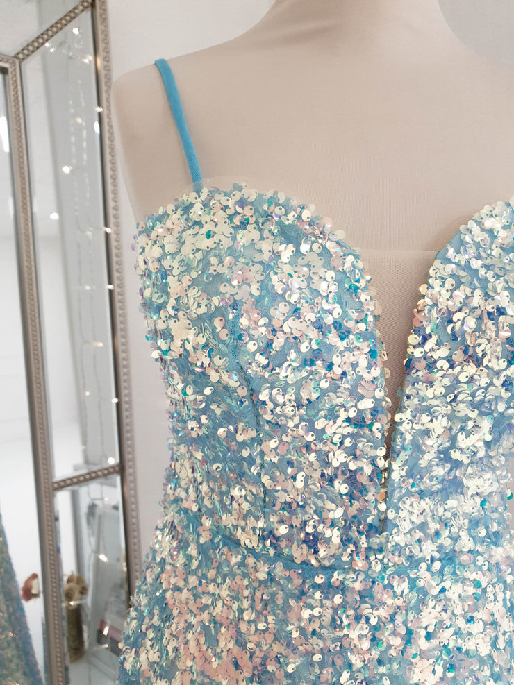 Rossano Gown Blue Sequin