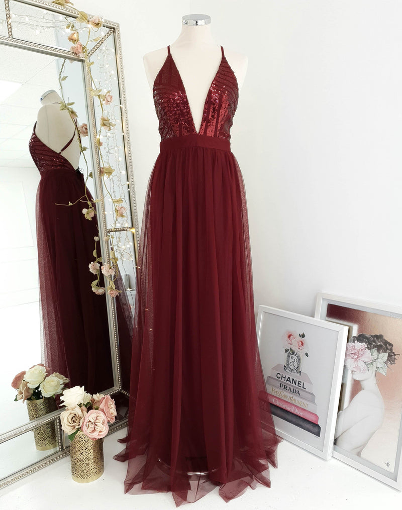 Ayla Sequin Maxi Wine