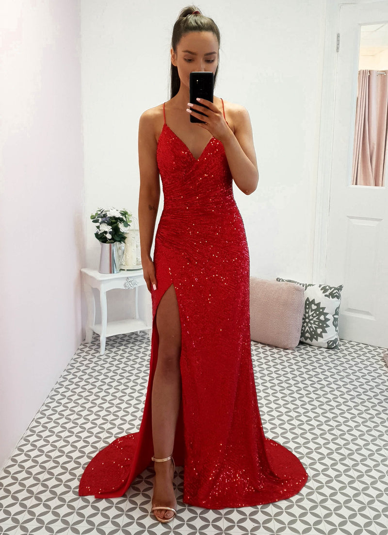 Kalila Gown Gold Red Sequin
