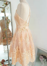 Evia Lace Mini Dress Peach