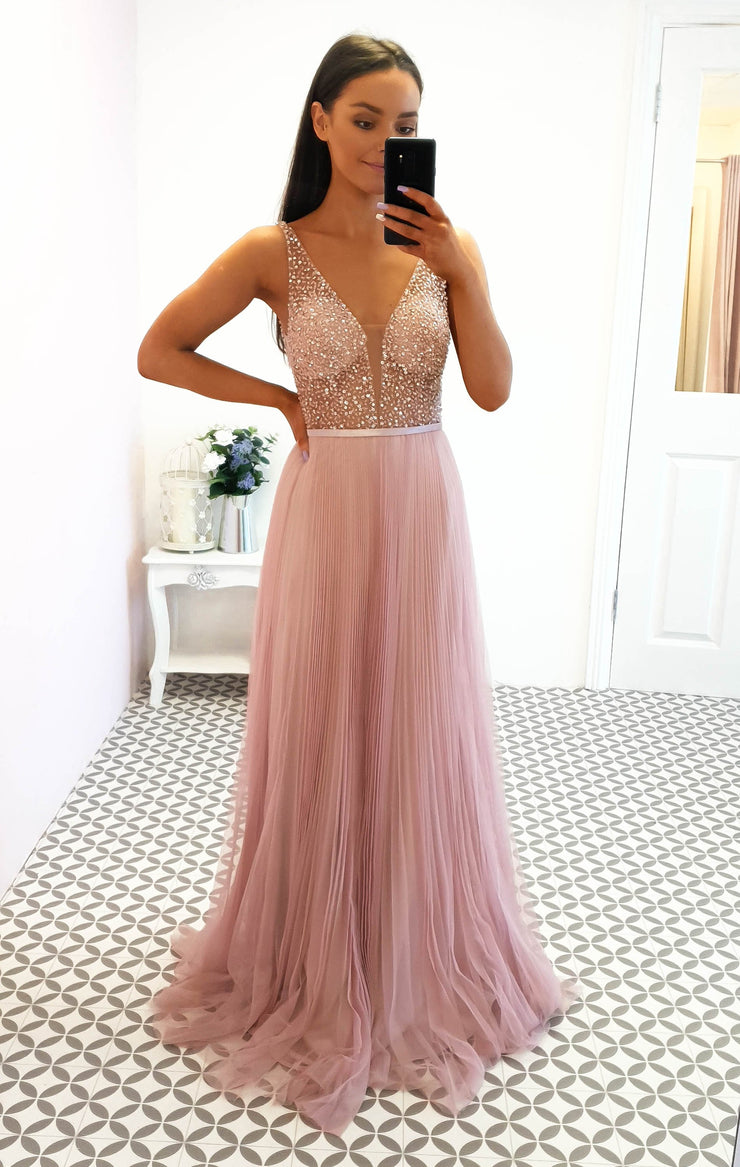 Isabella Pleated Embellished Gown