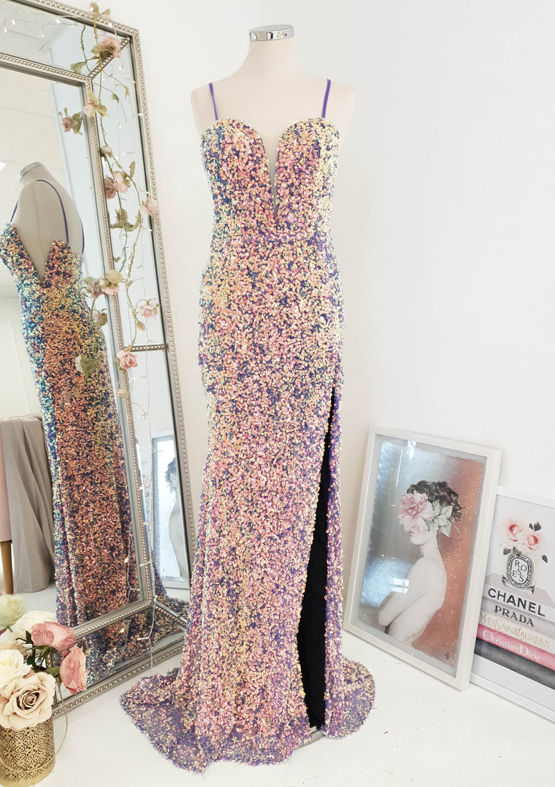 Rossano Gown Violet Sequin