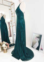 Rachel Sequin Gown Emerald Green