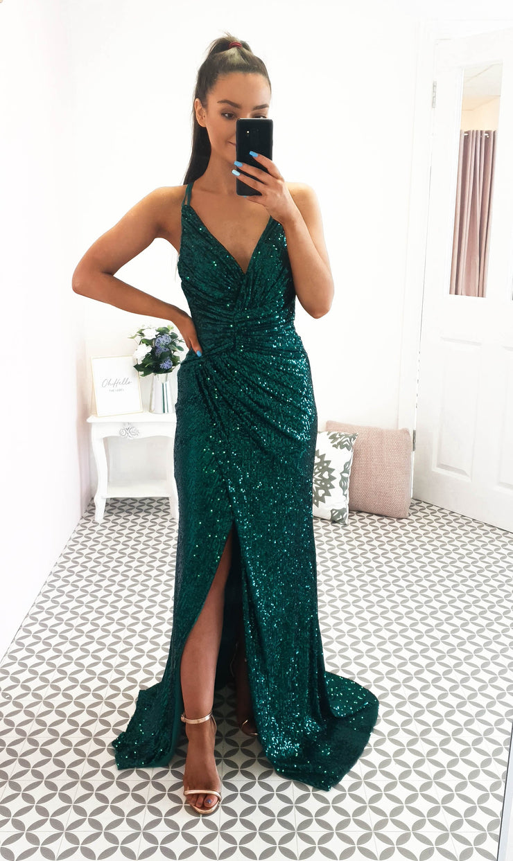 Roma Sequin Gown Emerald Green