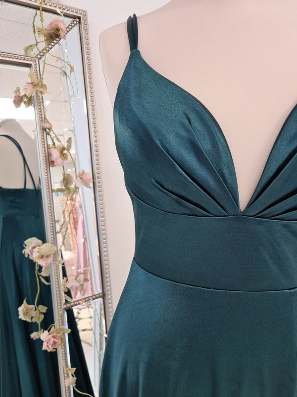 Lelia Satin Gown Emerald