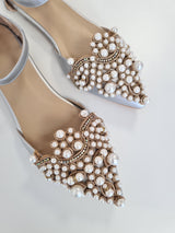 Catherine Pearl Embellished Flats Silver