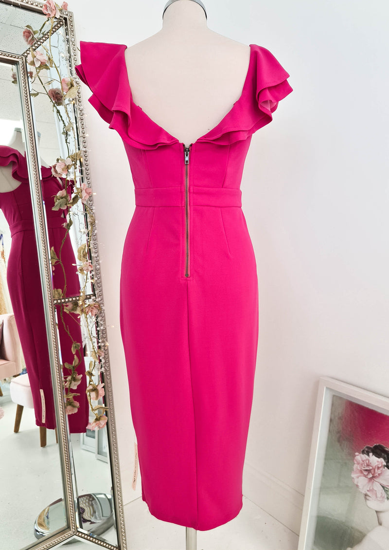 Alba Midi Dress Hot Pink