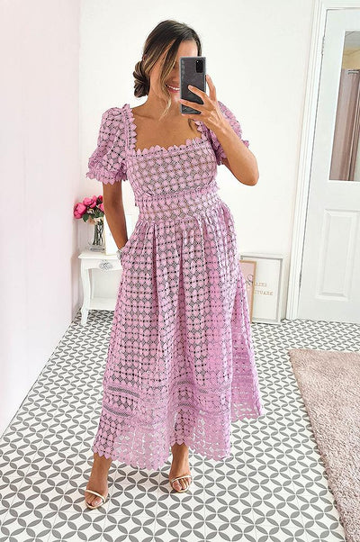 Kristina Heart Lace Midi Dress Lilac