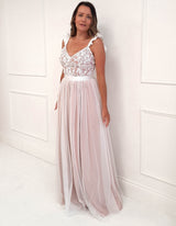 Harlow Tulle Gown White/Pink