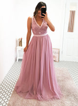 Charlotte Mesh Powder Pink Dress