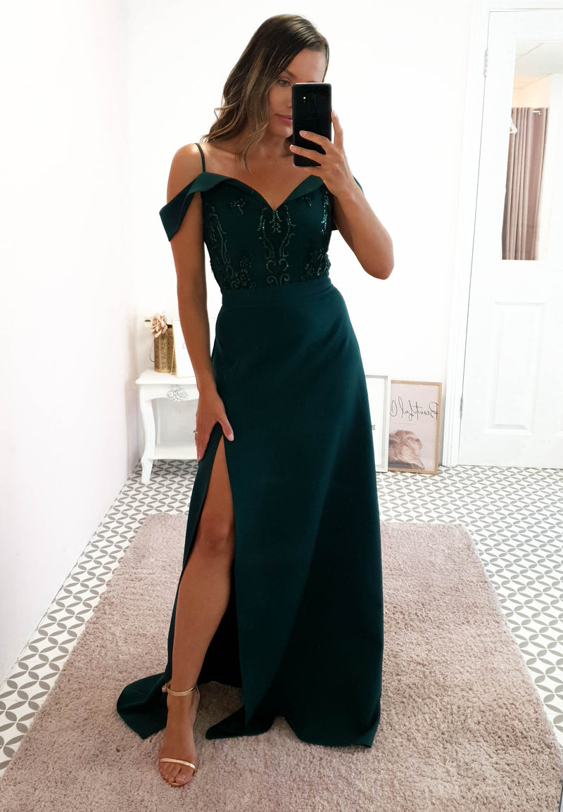 Amanda Off The Shoulder Maxi Emerald Green