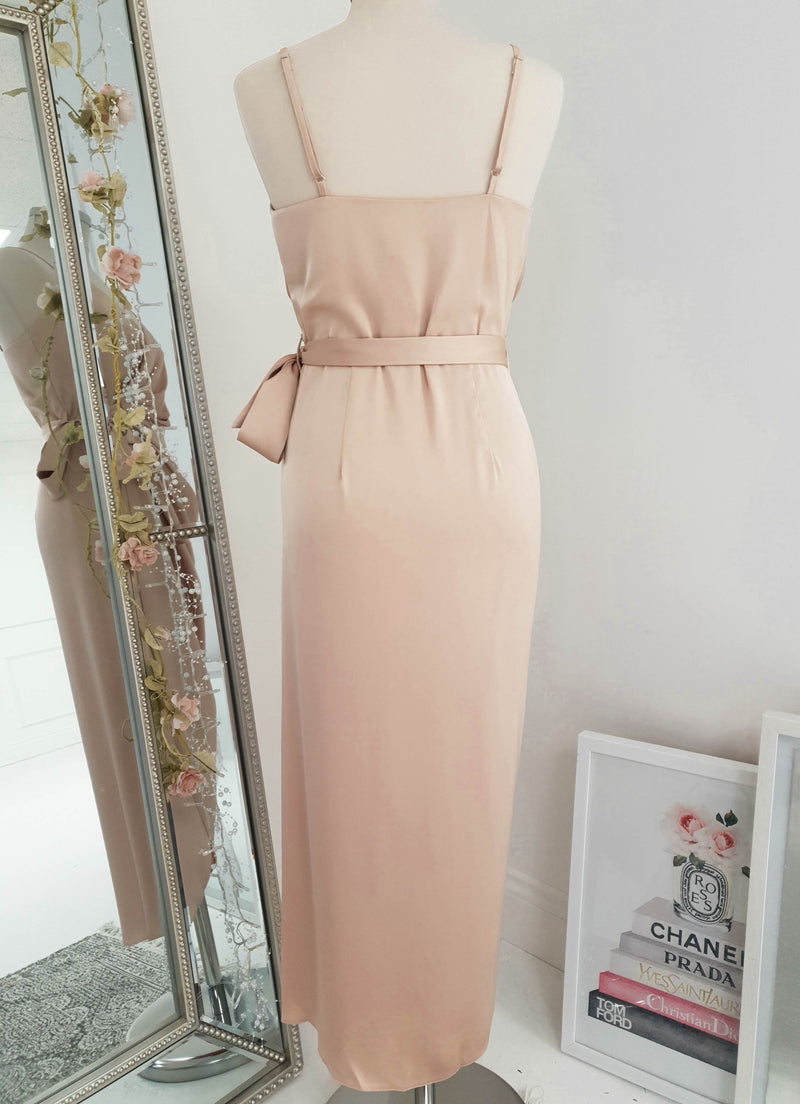 Carrie Midi Wrap Dress Nude