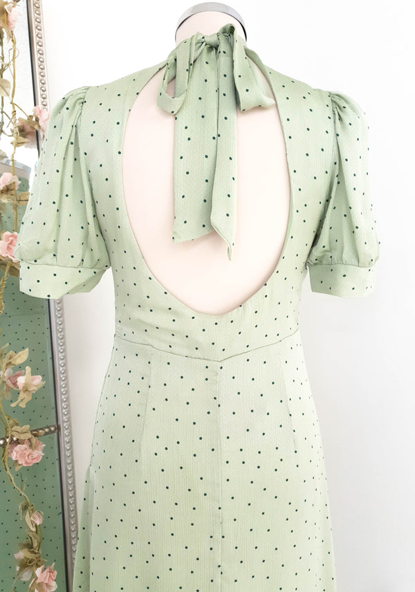 Annie High Neck Polka Dot Sage