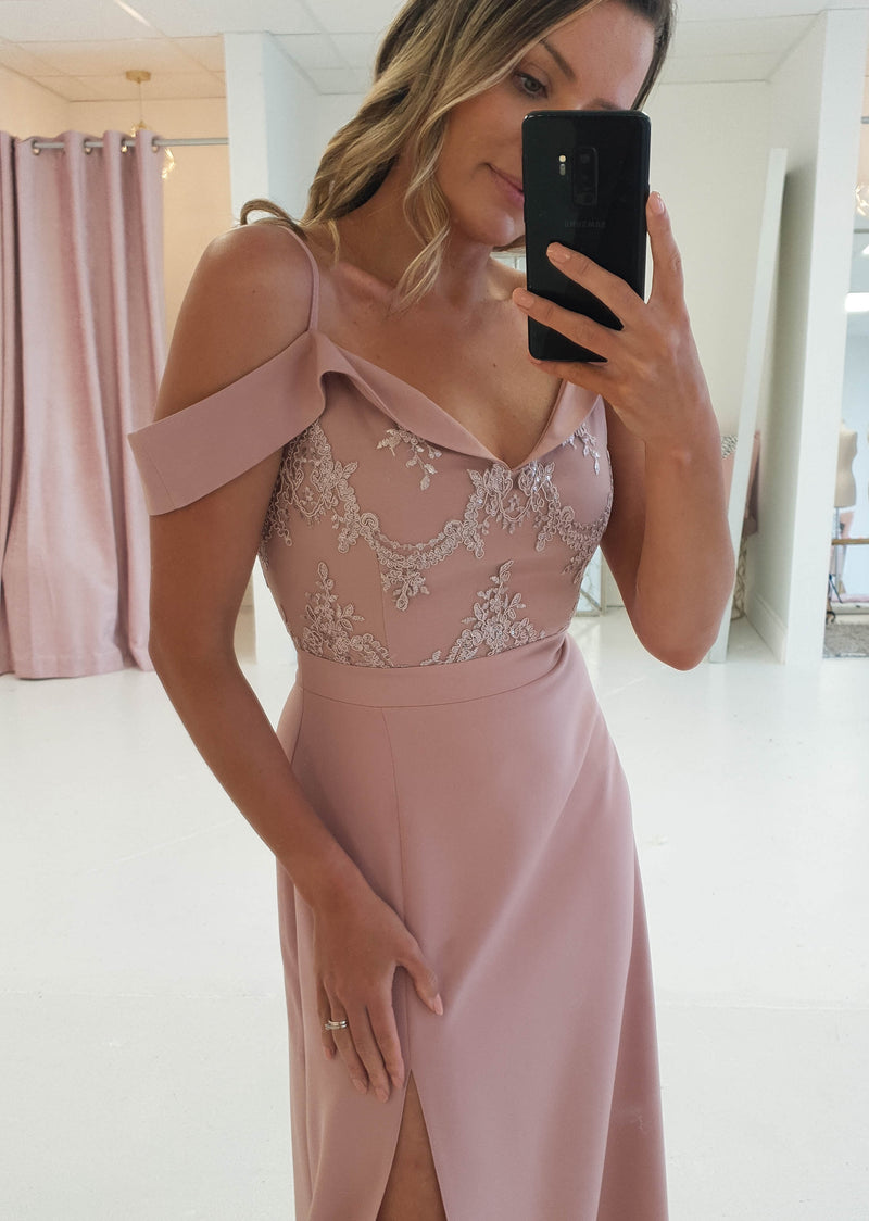 Amanda Off The Shoulder Maxi Mauve