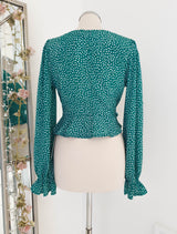 Hailee Printed Peplum Top Green