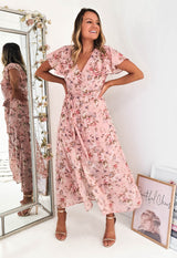 Marlie Printed Midi Dress Pink