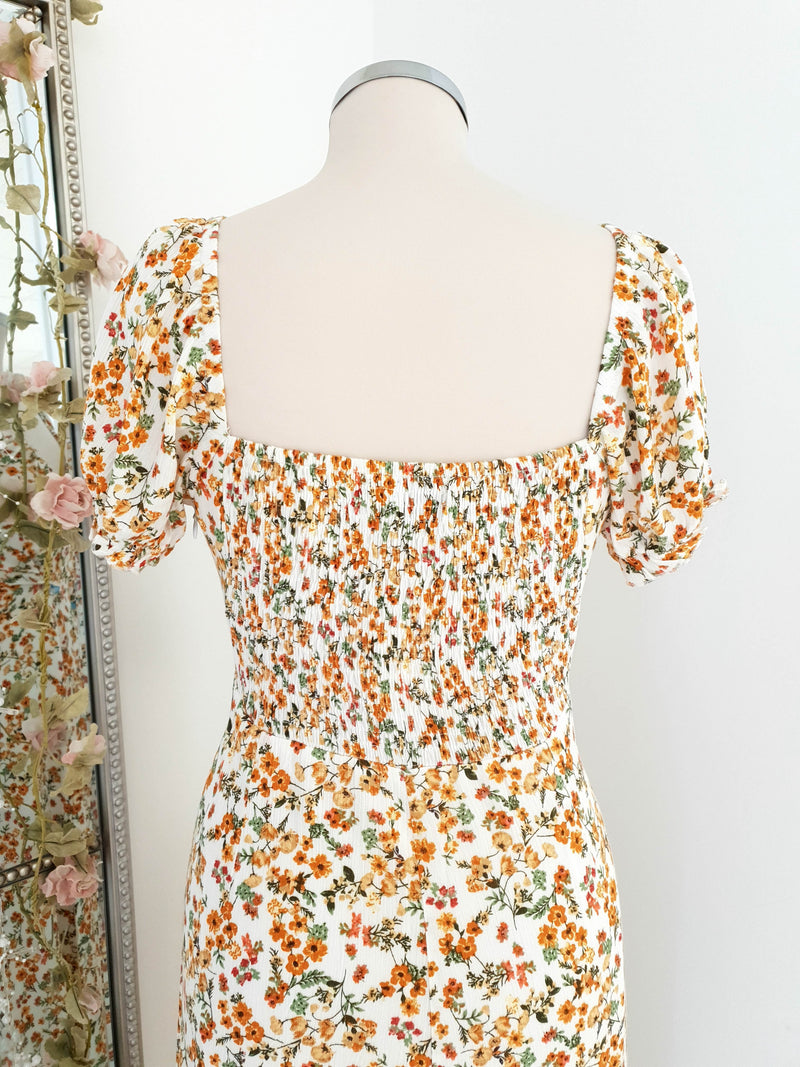 Midsummer Orange Floral Print Midi Dress
