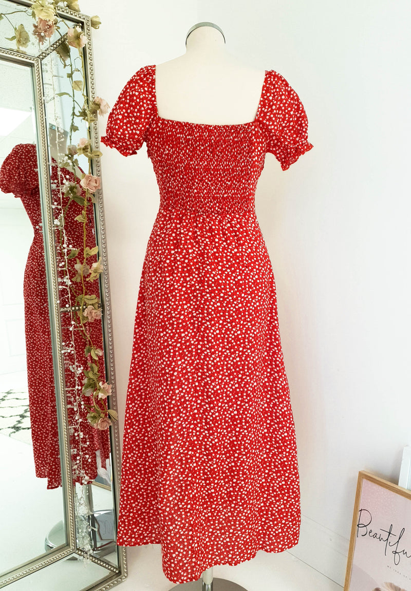 Almeda Printed Midi Dress Red