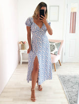 Indigo Floral Print Midi Dress Blue