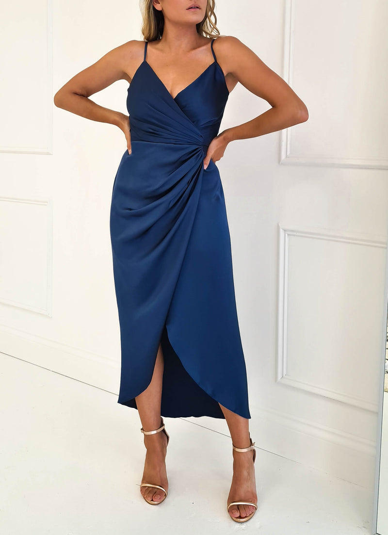 Carrie Midi Navy Wrap Dress