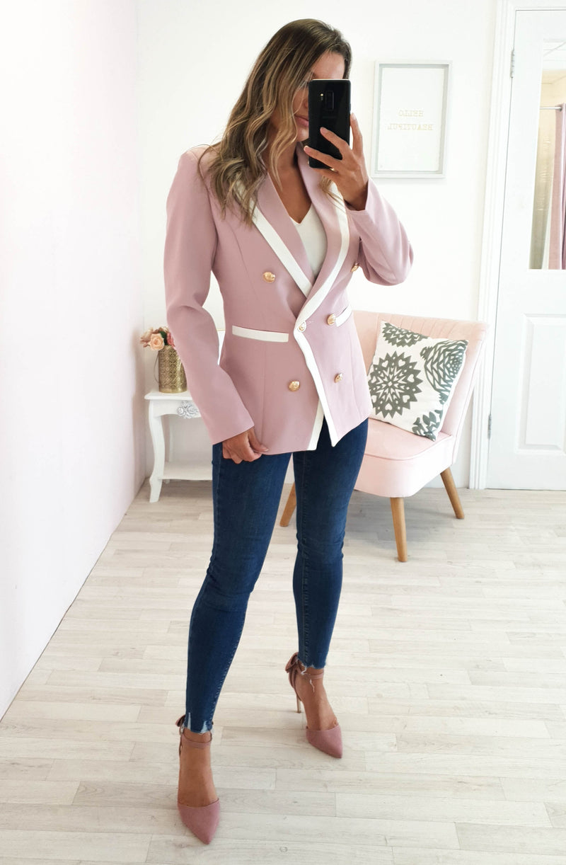 Selena Double Breasted Blazer Pink