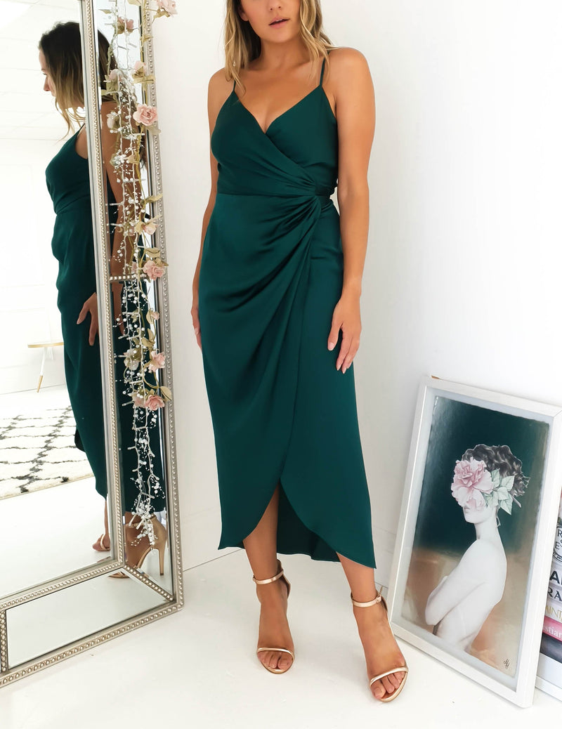 Carrie Midi Forest Green Wrap Dress
