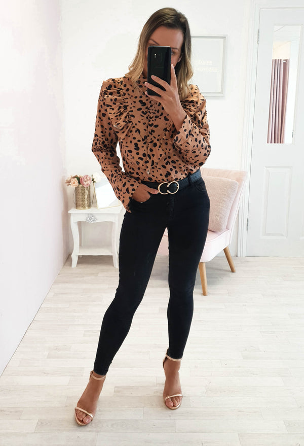 Kirsty Polka Dot Shirt Top in Rust
