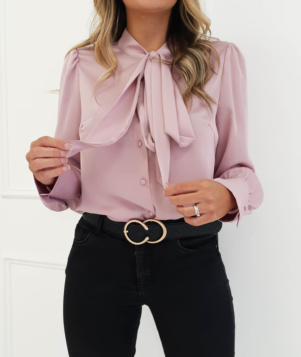 Margot Satin Tie Neck Shirt Pink