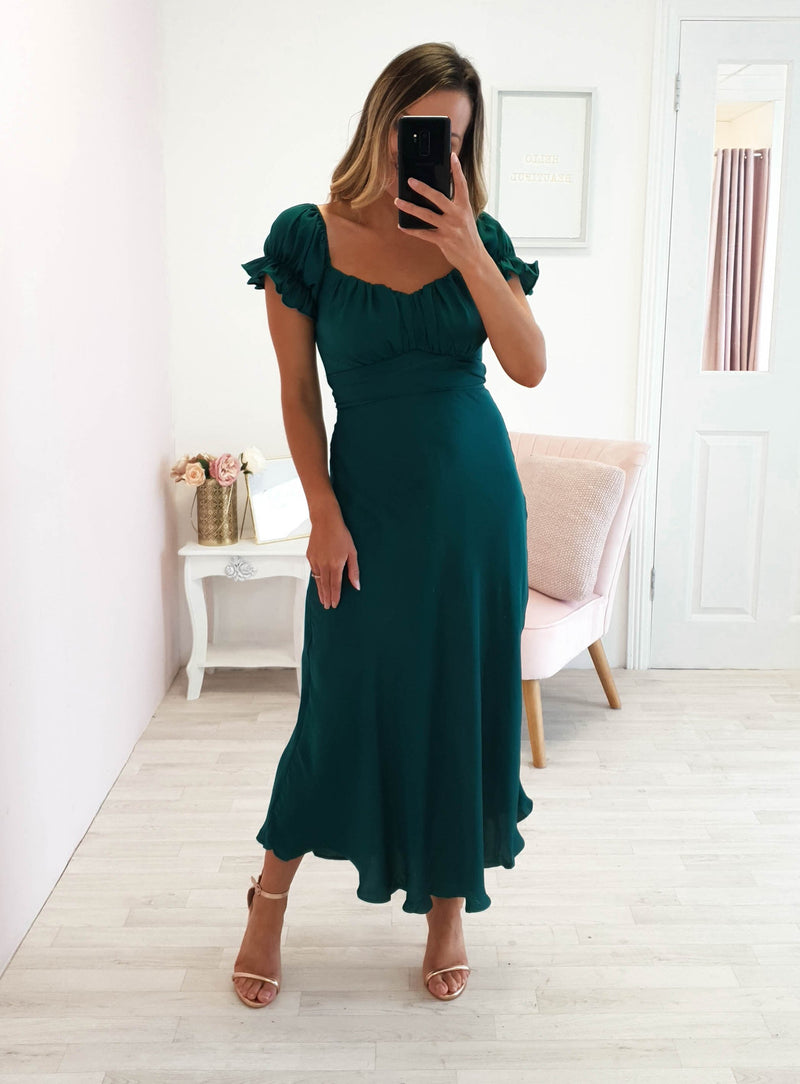 Jada Midi Dress Dark Green